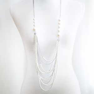 Jewelry - Chunky Pearl & Silver-toned Multi Layer Necklace